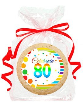 80th Birthday / Anniversary Rainbow Image Freshly Baked Party Favor / Gift Decorated M & M Rainbow Cookies - 24pk