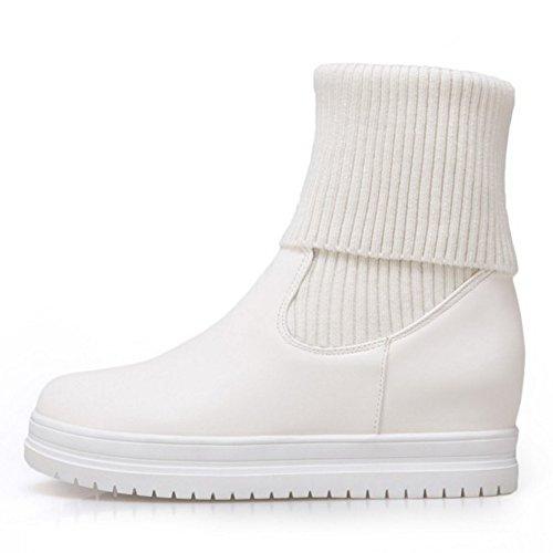 Slip Comfort White Boots Women Knit Platform KemeKiss On EavF8Wwq