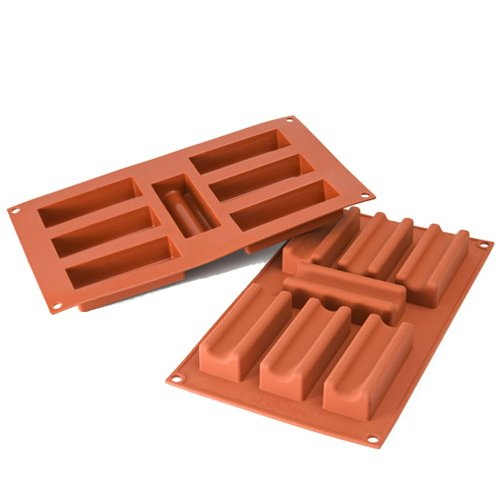 Silikomart Professional Silicone Mold: Furrowed Log 1-3/8'' x 3-3/4'' x 15/16'' High, 7 Cavities