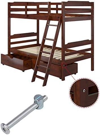 Flammi M6 x 60mm Bolts Nuts Set Allen Head Screws Barrel Nuts 20Pcs for Crib Bunk Bed Furniture Cot Plated Zinc Steel