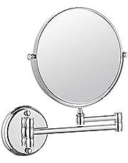 مرآة حمام، هيكل من الفولاذ المقاوم للصدأ، مقاوم للماء، مع مرآة مكبرة مثبتة على الحائط، بلمسة نهائية من الكروم