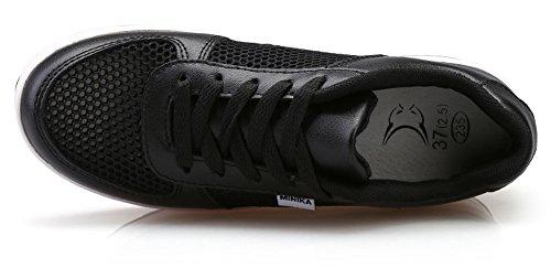 Ausom Womens Stylish Leather Platform Wedges Walking Fitness Work Out Sneaker Toning Shoes Black 2 Q8XFsnYA