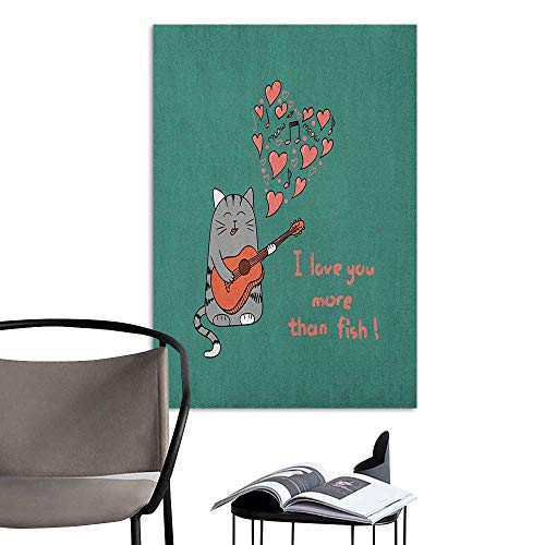 (Scenery Wall Sticker I Love You More Cartoon Singing Cat with Guitar More Than Fish Song Music Notes and Hearts Multicolor School Dormitory Classroom W16 x)