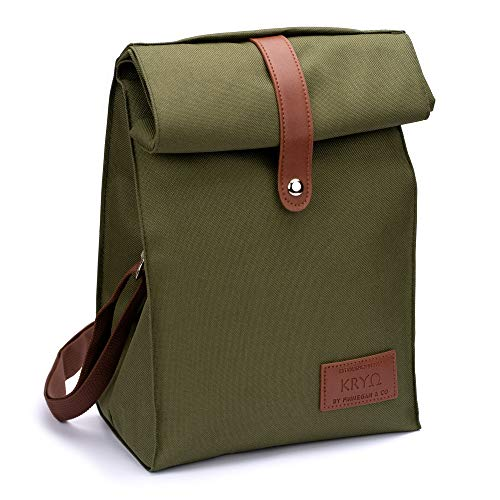 Insulated Lunch Bag by KRYO - Small reusable cooler bags - A travel lunchbox with shoulder strap for men and women or kids - Portable waterproof lunchboxes for any occasion - (Dark Green)