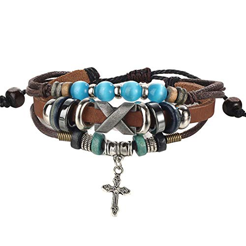 Ethnic Stone Weaving Multi-Layer Leather Bracelet Cross Charms Beads Bracelets for Men Handmade Wrap Wristband Jewelry,B2