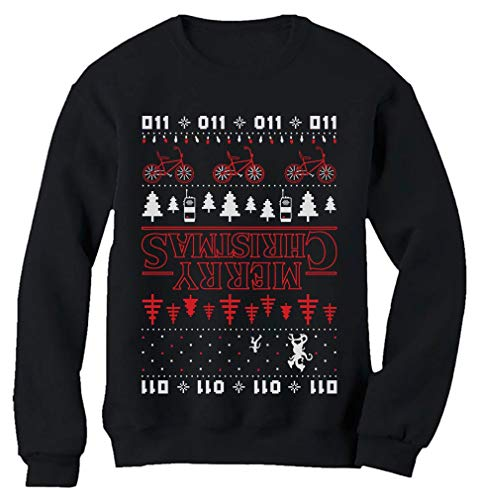 Tstars Merry Christmas The Upside Down Ugly Christmas Sweatshirt XX-Large Black (Sweater Christmas Mens Ugly Ideas)