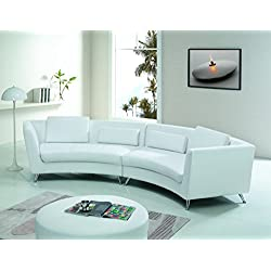 Modern Line Furniture 8004W Contemporary Leather Curved Sectional Sofa for Restaurant/Bar/Nightclub/Hospitality Furniture, White (Pack of 4)