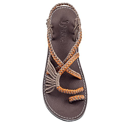 Plaka Flat Summer Sandals for Women Orange Gray 6 Palm Leaf