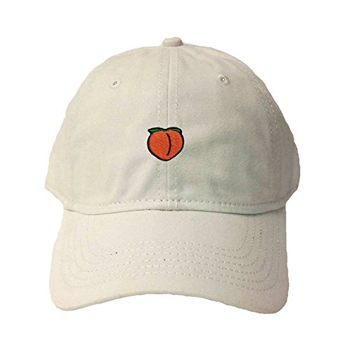 Adjustable White Adult Peach Emoji Embroidered Deluxe Dad Hat