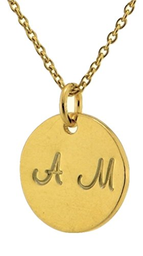 Initial Necklace Sterling Silver Gold Plated Custom Two Letters Disc Personalized Monogram Pendant (18)