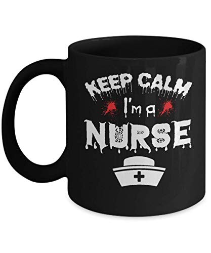 Nurse Halloween Gifts - Keep Calm I'm A Nurse Haloween Mug- Black Ceramic Coffee Mug]()