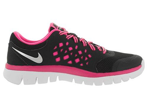 Nike Flex 2015 Run (GS), Girls Running Shoes Black/Mtllc Slvr/Pnk Pw/Pht Bl