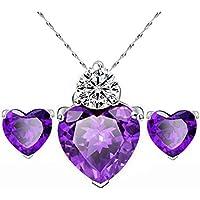 Hunputa Luxury Womens Heart Crystal Pendant Necklace Jewelry Earrings Sets Wedding Party (Purple)