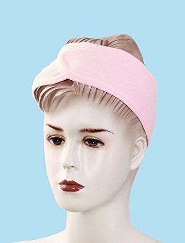 Huini Toweling Headband Head Band Salon Spa Facial - 10pc in 1 Package Pink