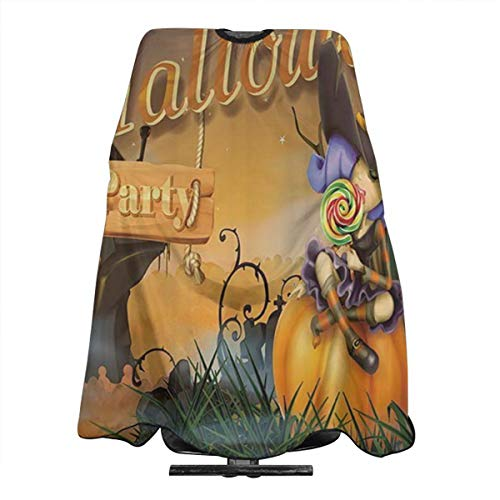 DFAUHAL Happy Halloween Witch Pumpkins Barber Cape - Professional Hair Salon Nylon Cape with Closure]()