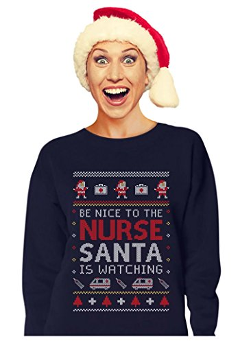 Nurse Ugly Christmas sweater Funny Xmas Gift for Nurses Women Sweatshirt X-Large Navy (Ugly Christmas Sweater Contest Ideas)