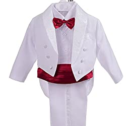 Dressy Daisy Boys' Classic Tuxedo w/Tail 5 Pcs Set Formal Suits Wedding Outfit Size 18-24 Months White Red