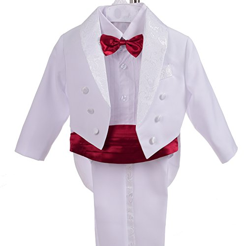 Dressy Daisy Boys' Classic Tuxedo w/Tail 5 Pcs Set Formal Suits Wedding Outfit Size 18-24 Months White Red by Dressy Daisy