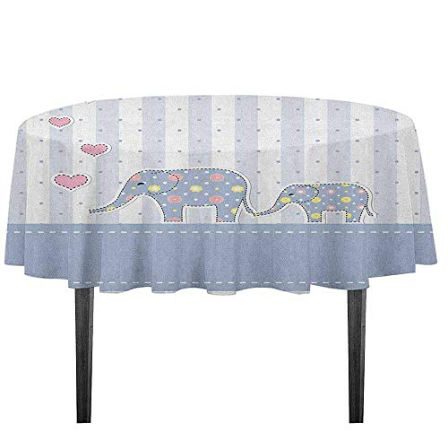 kangkaishi Elephant Nursery Leakproof Polyester Tablecloth Baby Shower Themed Cheerful Newborn Celebration with Pastel Toned Striped Dinner Picnic Home Decor D55.11 Inch Multicolor ()