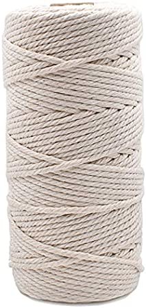 CYH Macrame Cord 3mm x 150m 4-Strand Twisted Soft Natural Macrame Rope Macrame Kit for Plant Hanger Wall Hanging Knitting Craft Beginners Home Bedroom Living Room Decorations
