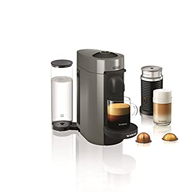 Nespresso VertuoPlus Coffee and Espresso Machine Bundle with Aeroccino Milk Frother by De'Longhi