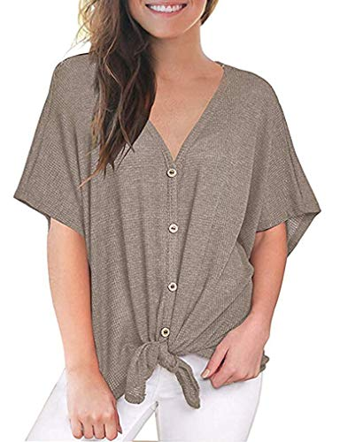 (Womens Short Sleeve Tops V Neck Waffle Knit Tunic Button Up Tie Front Shirt Loose Blouses Khaki XL)