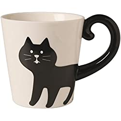 "Decole ""Concombre"" Cat Tail Mug Cup (Black Cat)"