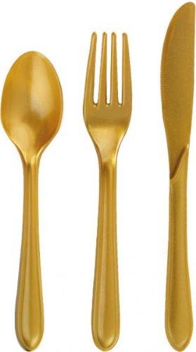 10 oro tenedores de plástico dorados, desechable 15 cm