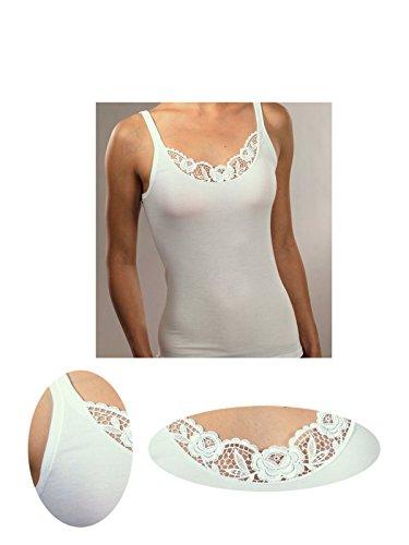 Schoeller Damen Unterhemd Achselhemd Spitze 100% Baumwolle in weiß Gr. 40