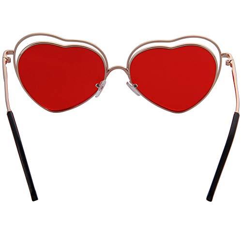 Couleur Un Amour Red Soleil Métallique Ossature À Des Ogobvck Coeur Lunettes De n0qxpUd5w