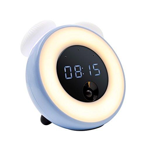 - Alarm Clock LED Night Light for Kids , GEREE bedside Lamp for Kids Bedroom,PIR Sensor,Touchscreen Control, with Adjustable Brightness, USB Rechargeable (Blue)