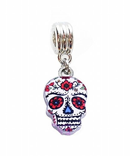 COLORFUL SUGAR SKULL MARDI GRAS FAT TUESDAY CHARM PENDANT FOR NECKLACE EUROPEAN CHARM BRACELET (Fits Most Name Brands) DIY ETC (Enamel Mardis Gras Charm)
