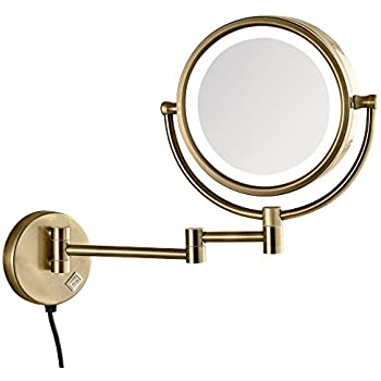 Amazon Com Gurun Led Lighted Makeup Mirror Wall Mounted