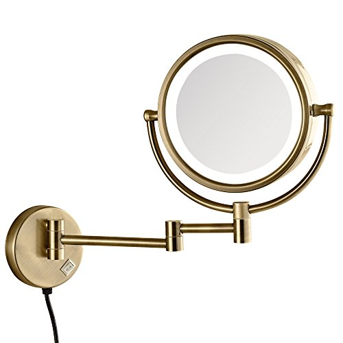 GURUN LED Lighted Makeup Mirror Wall Mounted with 7x Magnification,Antique Brass Finished, Plug Powered, 8.5 Inch, BRASS,M1809DK 8.5in,7x