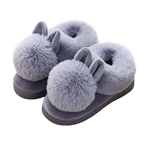 black Casa La Casa Coniglio Adorabili Calde Gray 40 Scarpe Comode Kkcf Peluche Da Della Per Invernali Pantofole 6wqnEC