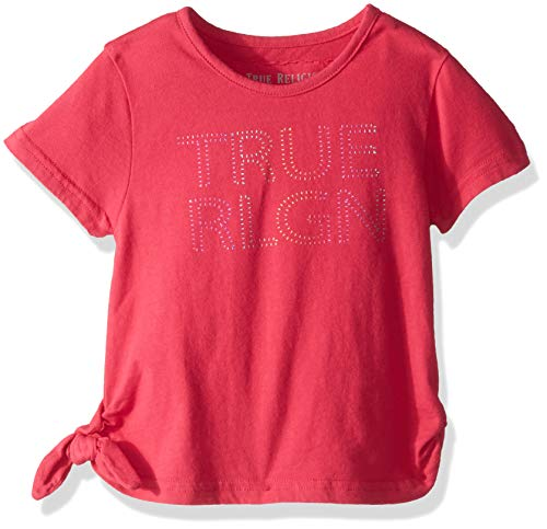 True Religion Girls' Toddler Fashion Short Sleeve Tee Shirt, Mock tie Raspberry, - Religion Tie
