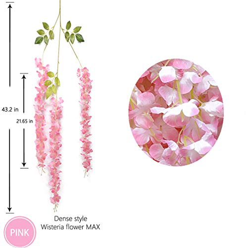 12pcs Artificial Wisteria Flowers 3.6 Feet/Piece Light PinkDense Artificial Fake Wisteria Vine Ratta Hanging Garland Silk Flowers String Home Party Wedding Decor(Pink-Dense)