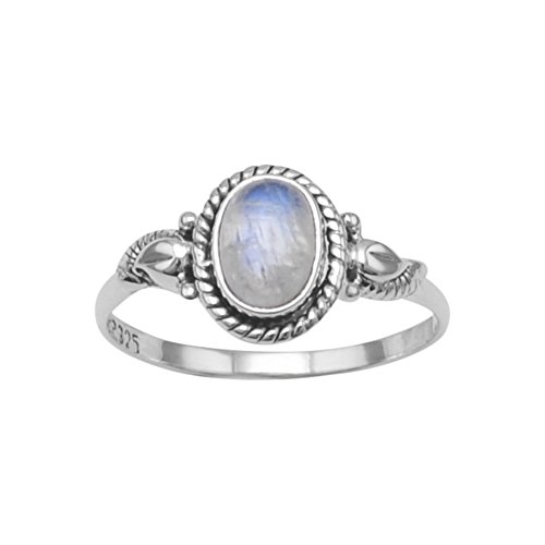 Rainbow Moonstone Ring with Rope and Leaf Design Sterling - Sterling Ring Rainbow Moonstone