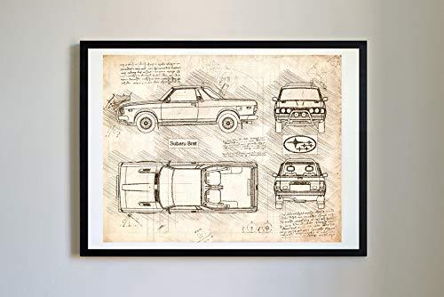 Antique 359 Matte (DolanPaperCo #359 Subaru BRAT 1978-94 Art Print, da Vinci Sketch – Unframed – Multiple Size/Color Options (Vintage, 11x14))