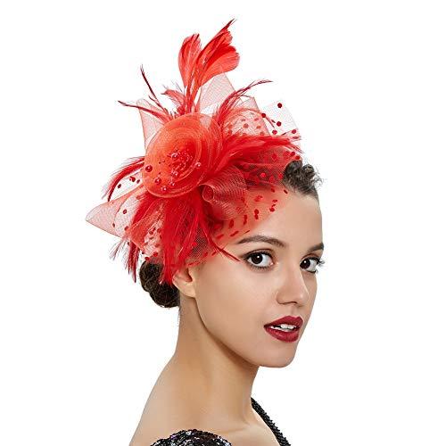 ACTLATI Fascinator Hat for Women Tea Party Headband Kentucky Derby Flower Mesh Feather Hair Clip Red]()
