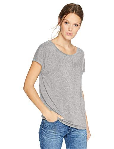 Daily Ritual Women's  Jersey Short-Sleeve Boat Neck Shirt, Light Heather Grey, Small