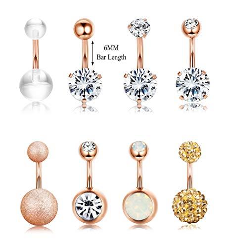 Finrezio 14G 6MM Short Length Surgical Steel Belly Button Ring for Women Girls CZ Navel Ear Rings Body Piercing Jewelry 8PCS