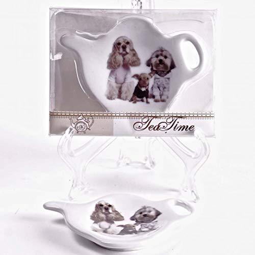 Jcook Home Decor Porcelain Tea Bag Holders in Gift Box - Dogs - Set of 2