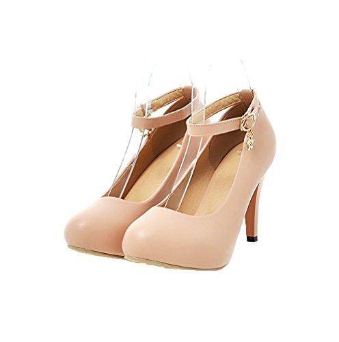 Shoes Solide Odomolor High runde Schnalle Pumps Spitze Damen Beige Heels PU ww4qgA