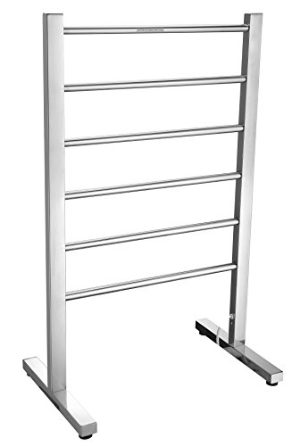 ANZZI Riposte 6-Bar Floor Mounted Towel Warmer in Chrome | Energy Efficient 65W Electric Plug in Heated Towel Rack for Bathroom | Stainless Steel Towel Heater Rail Quick Towel Dryer - Floor Mounted Warmer Towel