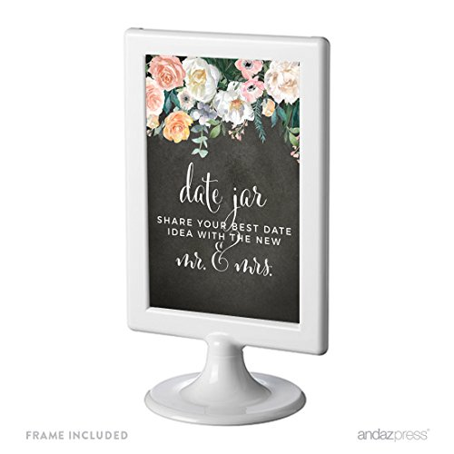 Andaz Press Peach Chalkboard Floral Garden Party Wedding Collection, Framed Party Signs, Date Jar Share Your Best Date Idea With the New Mr. & Mrs. Sign, 4x6-inch, 1-Pack, Includes (Peach Wedding Ideas)