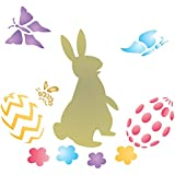 """EASTER RABBIT Stencil - (size 4""""w x 3.25""""h) Reusable Wall Stencils for Painting - Best Quality Easter Scrapbooking Ideas - Use on Walls, Floors, Fabrics, Glass, Wood, Terracotta, and More…"""