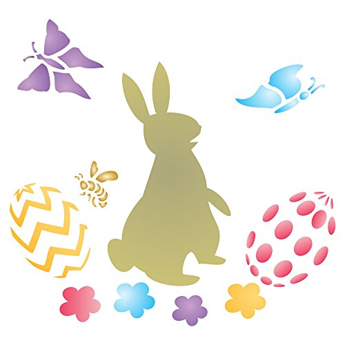 """EASTER RABBIT Stencil - (size 4""""w x 3.25""""h) Reusable Wall Stencils for Painting - Best Quality Easter Scrapbooking Ideas - Use on Walls, Floors, Fabrics, Glass, Wood, Terracotta, and (Ideas For Easter)"""