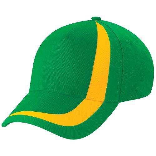 Beechfield - Gorra/Visera Unisex Banderas de naciones del mundo Modelo World Flags Nations España - Verano/Piscina - 100% algodón. Green/Yellow