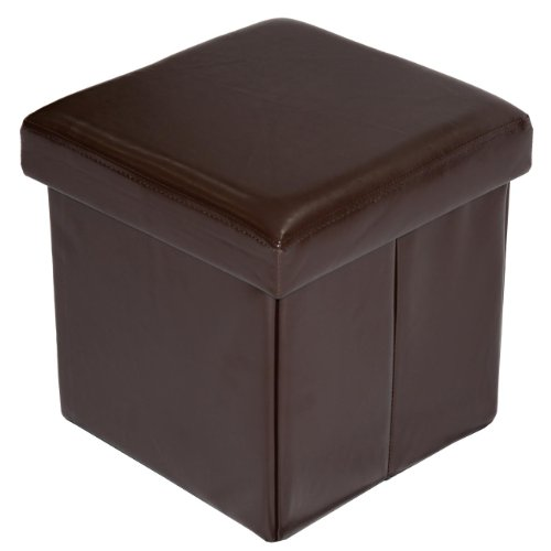 Home Source Industries 12560 Folding Ottoman with Storage, Coffee